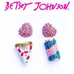 Betsey Johnson Pizza Soda Heart Stud Earring Trio